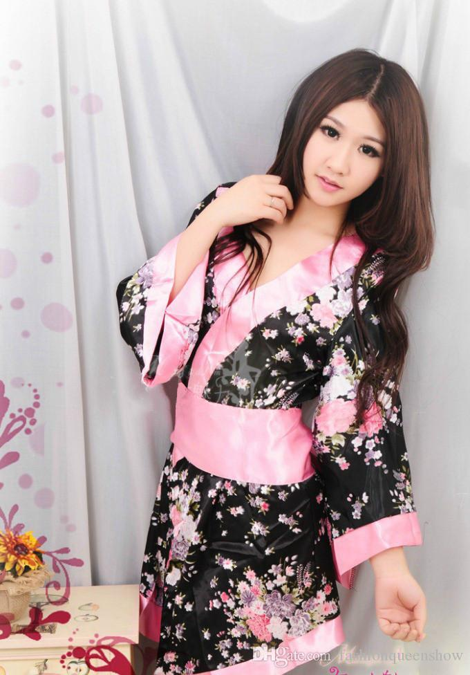 2019 Hot Sale Sexy Japanese Kimono Bathing Robe Nightdress Women Pink  Floral Kimono Lingerie Sleepwear Nightgown Pajamas From Fashionqueenshow 9ea69a2ca