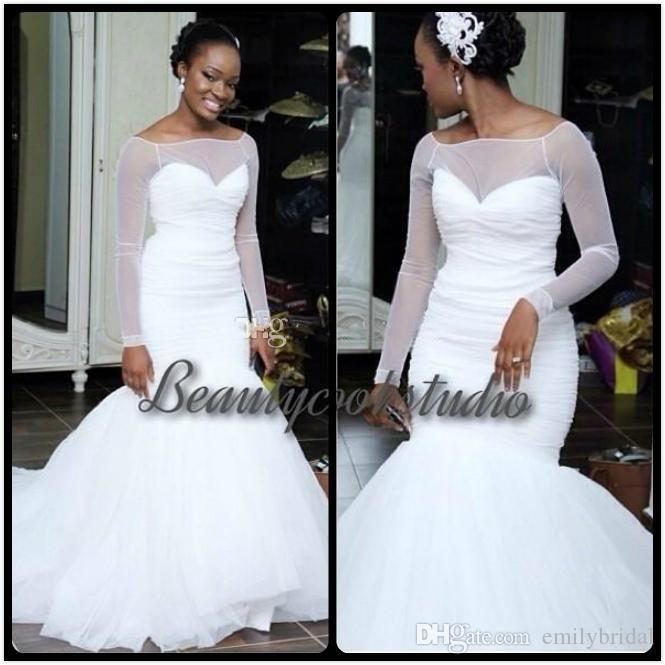 Simple White Tulle Wedding Dresses African Style Sheer Long Sleeve ...