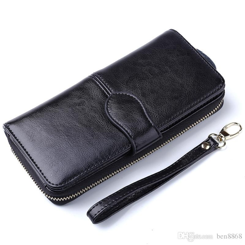 2017 Best Selling! Long Women Business Genuine Leather Wallet Cell iPhone 6 Plus Holders Clutch Bag Bifold Cowhide Wallet