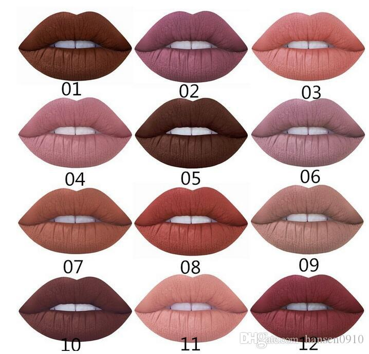 Sexy Moisturizer Waterproof Lipstick Makeup Long Lasting Matte Velvet Color Lip Gloss for Women Girls Color Hot