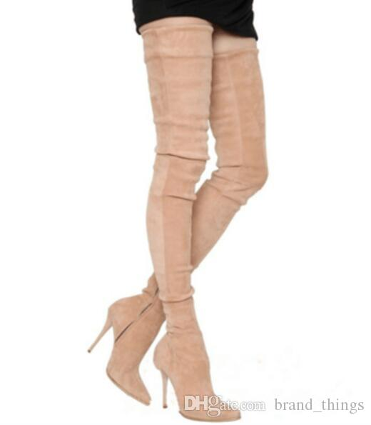 2017 women over knee high gladiator boots thin heel Stretch Fabric booties point toe sliver thigh high boots dress shoes ladies party shoes