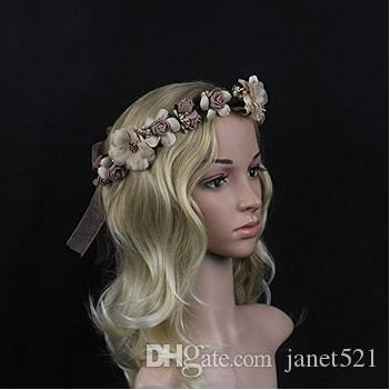 Pretty Bridal Garland Headband Flower Crown Hair Wreath Halo with Adjustable Ribbon for Wedding Festivals Bridal Hair Accessories
