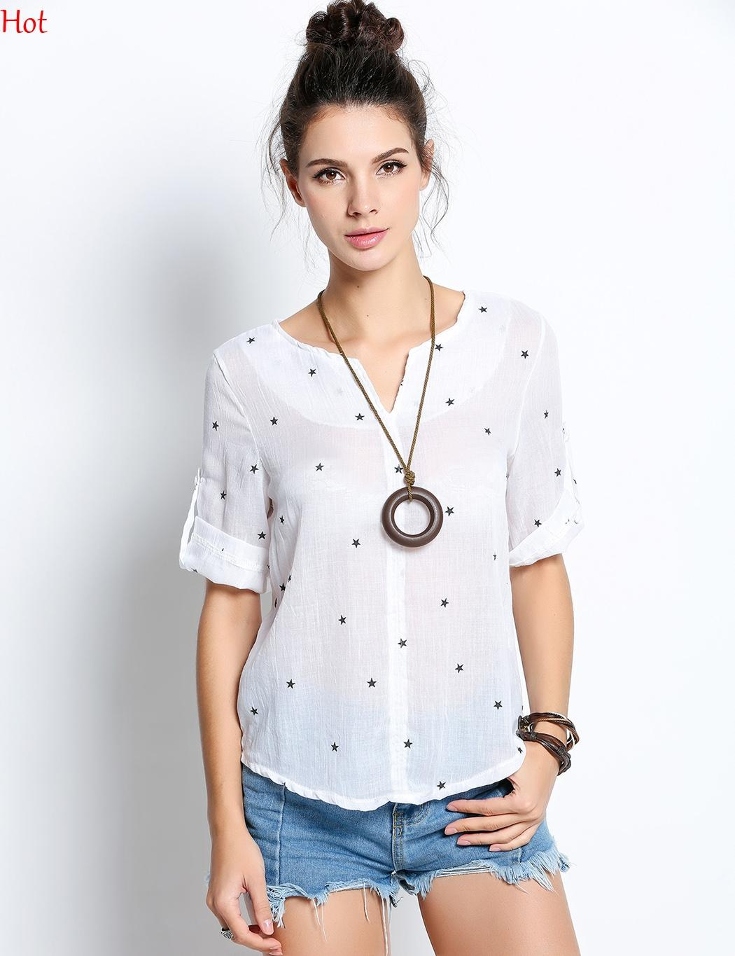 c5a1ba4bf36 2019 Sheer Chemisier Stars Print Tops Womens Tops Fashion 2017 Autumn Linen  Shirt Women Short Sleeve Blouse Korean Woman Clothes Roupas SV023067 From  U king ...