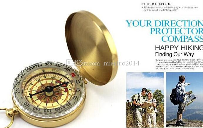 Delicate Brass Pocket Watch Style Outdoor Camping Compass wholesale Golden Classic Antique ZNZ01 DHL FEDEX