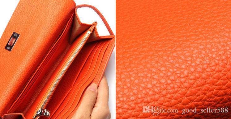 Portafogli di lusso donna di nuovo arrivo Portafogli di carte in pelle di vacchetta di primo livello Portafogli con serratura di design Portafoglio lungo