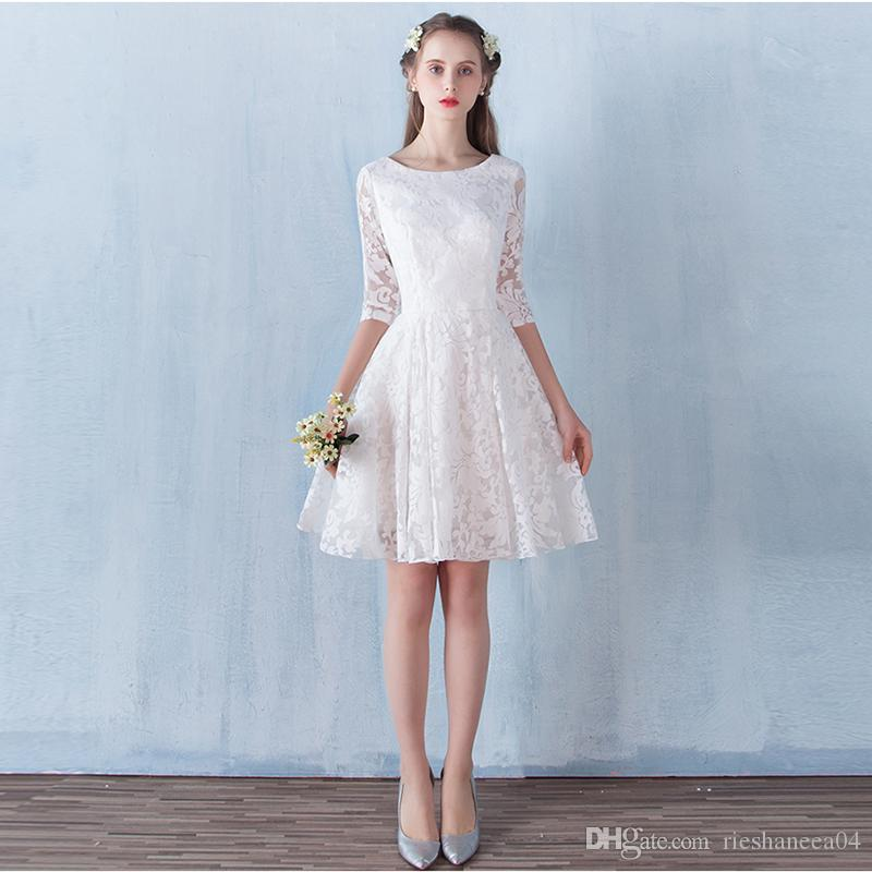 a0c63f4270 2017 Best Sale White A Line Short Prom Dresses Simply Lace Petal Power Graduation  Dress Homecoming Gowns Canada 2019 From Rieshaneea04