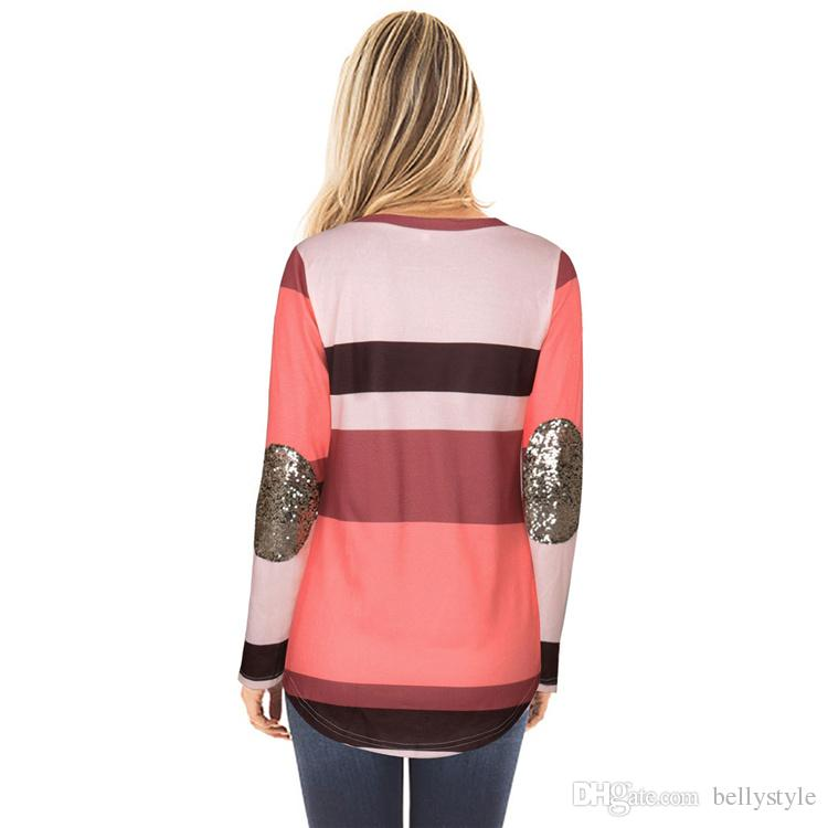 Striped O Neck Tshirt Women 2017 New Autumn patchwork Sequins Long Sleeve T-shirt Female Casual Loose Top Tee Female T-shirt DHL MDL171008
