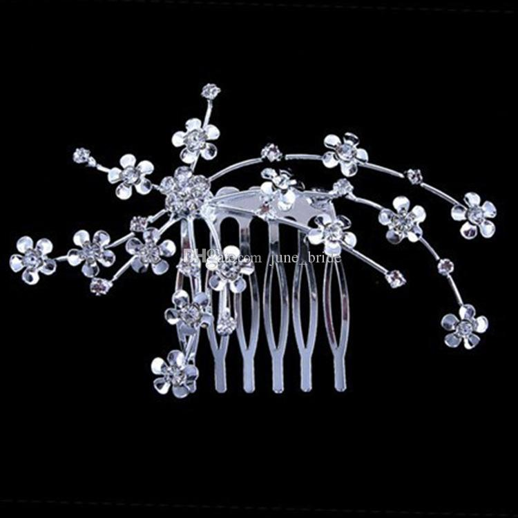 Elegant Small Alloy Rhinestone Floral Hair Comb Cheap Price Classic Bridal Accessories Wedding Homecoming Prom Party Headpiece