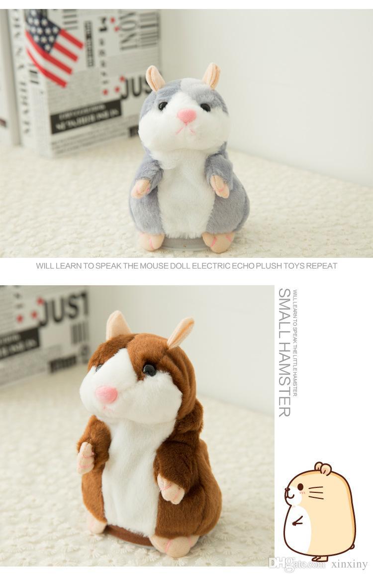 Lindo 15 cm Anime Hablar Hamster de peluche de dibujos animados juguetes de la muñeca Kawaii Hablar Hablar sonido Registro Hamster Hablar Navidad Regalos para niños