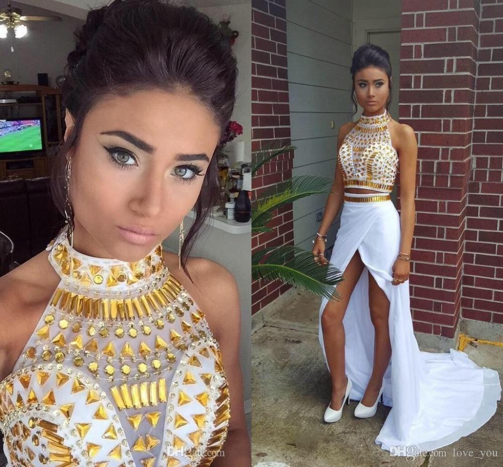 Asimetrik Yeni Gelmesi Resmi Önlükler Custom Made Şifon Bölünmüş Shinning Kristal Kızlar Akşam Elbise