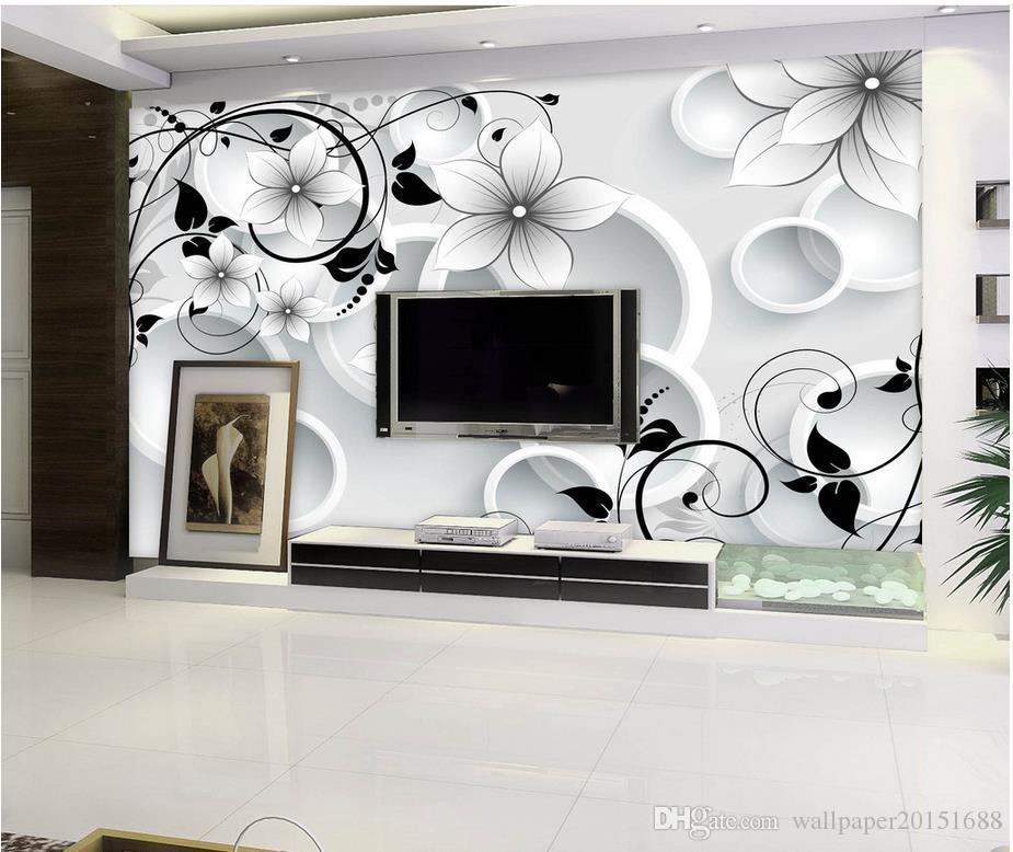 Muro Stereo 3D abstrato Mural Círculo Cinco TV Flor mural 3d papel de parede 3d papéis de parede para TV pano de fundo