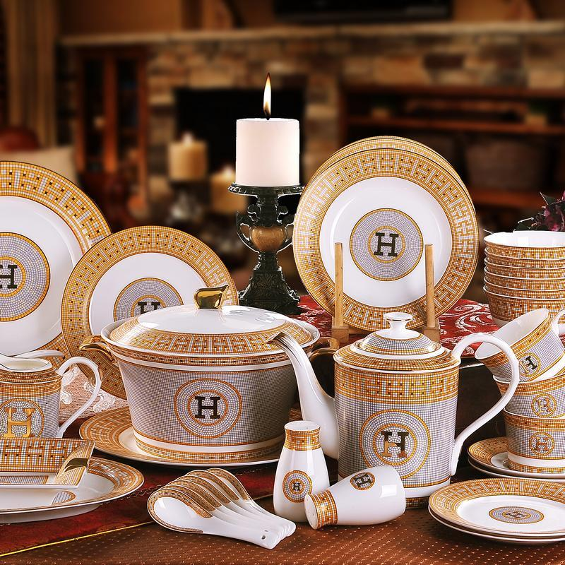 Porcelain Dinnerware Set Bone China H Mark Mosaic Design Outline In Gold Dinnerware Sets Dinner Set Coffee Sets Gifts Casual Dinnerware Sets Clearance ... : china dinnerware sets clearance - pezcame.com