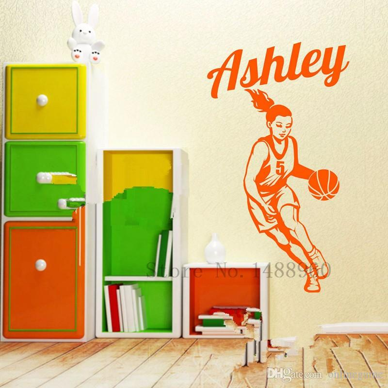 Basketball Player custom Personalized Girl Name Wall Stickers for kids rooms DIY poster Decal Vinyl Wall mural Home decor 36*76 cm