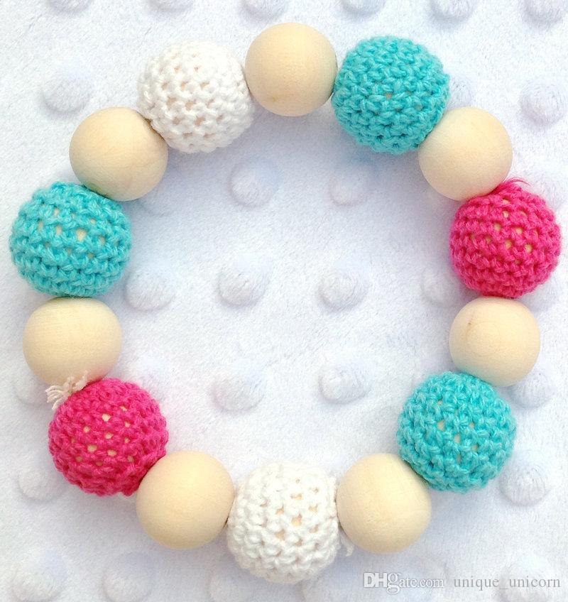 Säuglingsbaby Beißring Kinderkrankheiten Baby häkeln Babyspielzeug - Kinderkrankheiten häkeln Neo Regenbogenfarben häkeln Perle