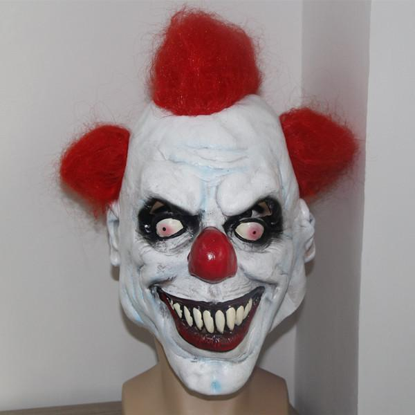 Wholesale X Merry ! Scary Clown Mask Wide Smile Red Hair ... Scary Halloween Clown Masks