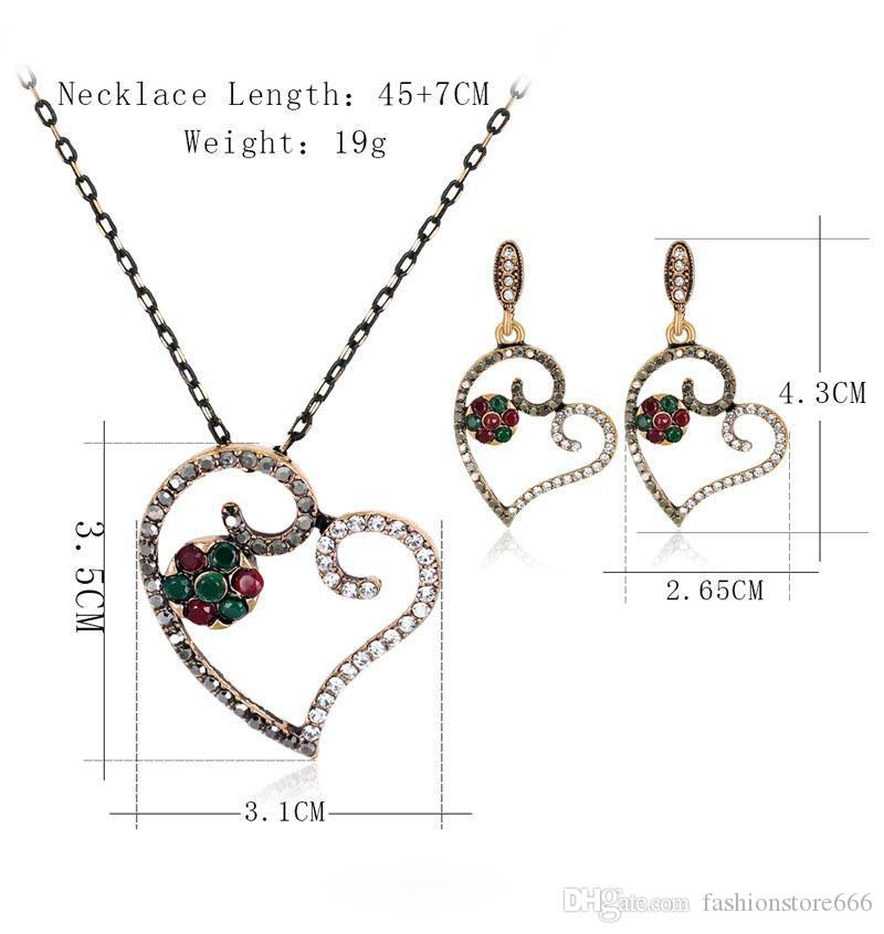 Hollow Love Heart Jewelry Sets Beautiful Valentine Party Choker Necklace Stud Earrings Sets maxi statement retro necklace sets