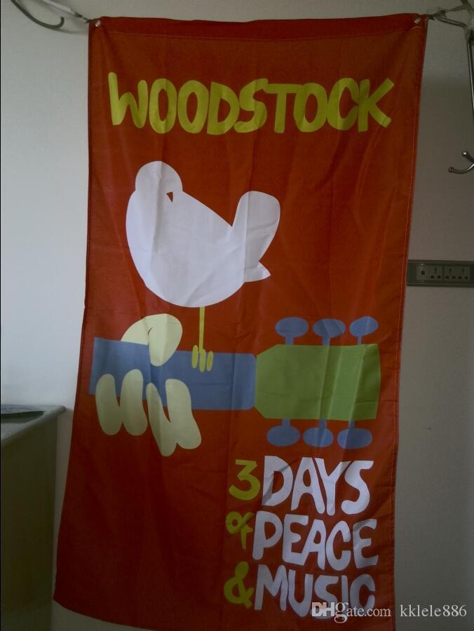 Woodstock Bayrak 90x150 cm Polyester Gitar Dove Rüya Ütopya Müzik Festivali Duvar Asılı Afiş