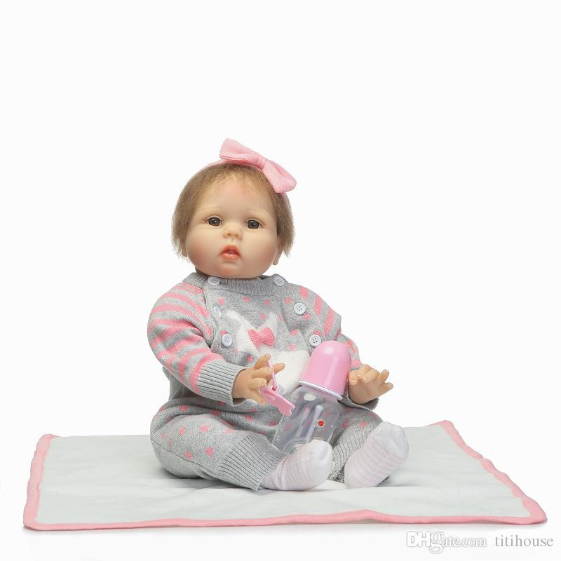 ba6f7fe09d6bc Reborn Baby Doll 22 Inch 55 Cm Silicone Vinyl Girl Doll Blond Hair Soft  Cloth Body Alive Toddler Baby Chiristmas Gift For Kids Dolls Clothes For 18  Inch ...