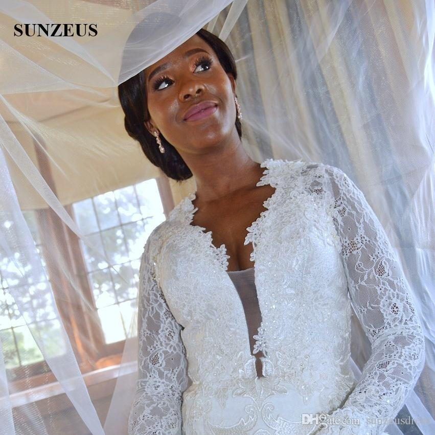 Manga larga de encaje Vestidos de novia Sirena con cuello en v profundo Vestidos de novia con apliques Vestido de matrimonio de las mujeres africanas Envío gratis