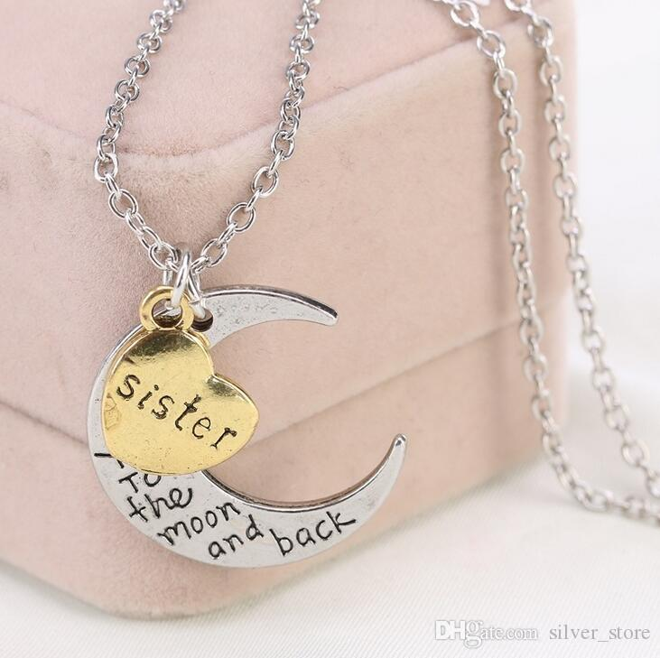 Hot sale Love Moon Couple Necklace Valentine 's Day Jewelry WFN200 with chain a