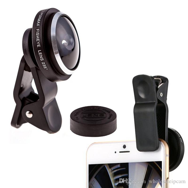 50pcs/lot 235 Degree Super Fisheye Selfie Lens Universal Clip for Samsung IPhone HTC XiaoMi Free Shipping