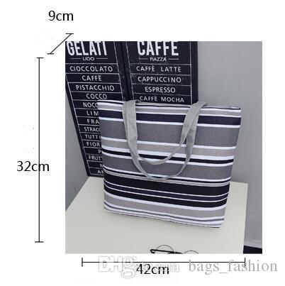 Leisure Canvas Shopper Shoulder Bag Striped Mom Bags Large Capacity Tote Women Ladies Casual Shopping Handbag Bolsa DHL