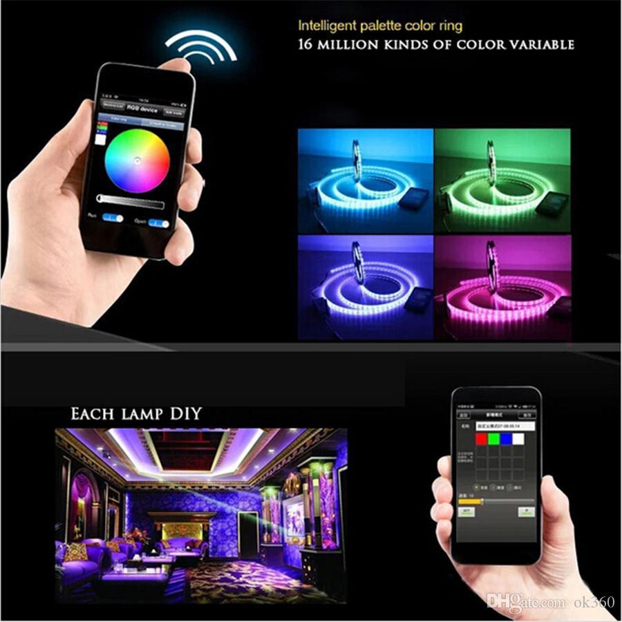 5 м светодиодные полосы 5050 RGB водонепроницаемый 60leds / m IP65 лента SMD 12V гибкий свет + 24K wifi пульт дистанционного управления светодиодные полосы света