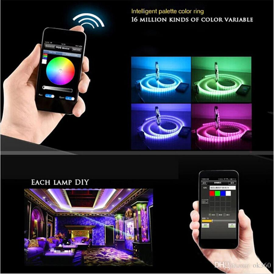 5m LED Strip 5050 RGB Impermeabile 60leds / m nastro IP65 SMD 12V luce flessibile + 24k wifi telecomando LED Strip Light