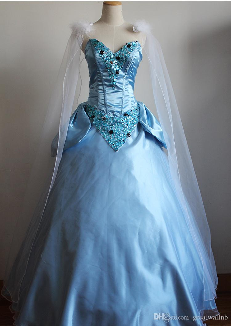 100%real Cinderella Christmas Cosplay Beading Ball Gown Princess ...