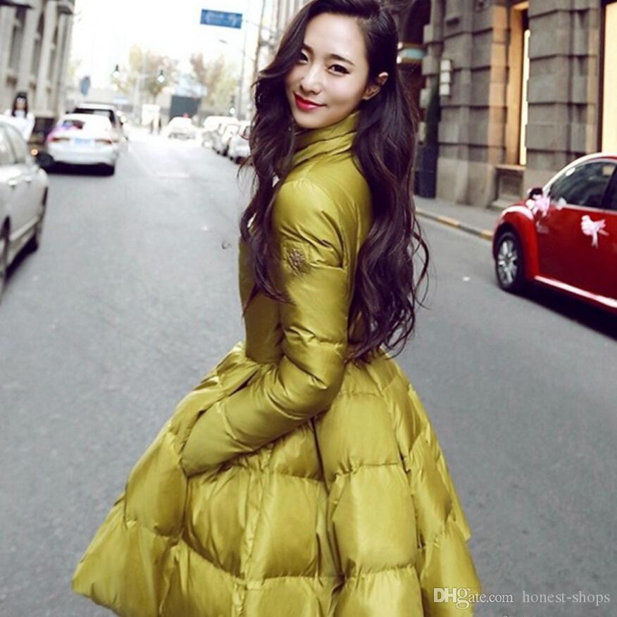 2016 New Fashion Women Winter Warm Down Coat Long Sleeve Solid A Line Long Jacket Coat Women Europe Stand Collar Down Coat