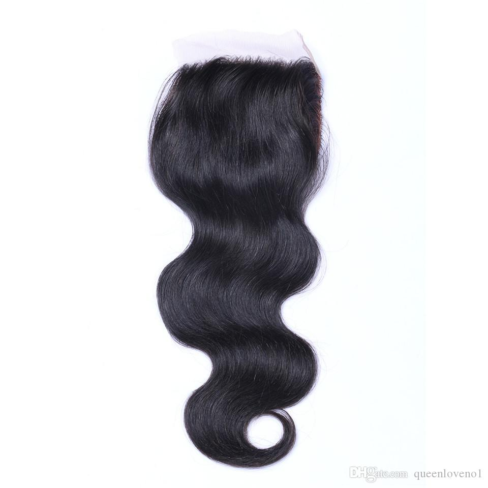 8A brasiliani dell'onda del corpo tessono i capelli con 4x4 chiusura del merletto non trattata i capelli umani di remy tessono la doppia trama colore nero naturale /
