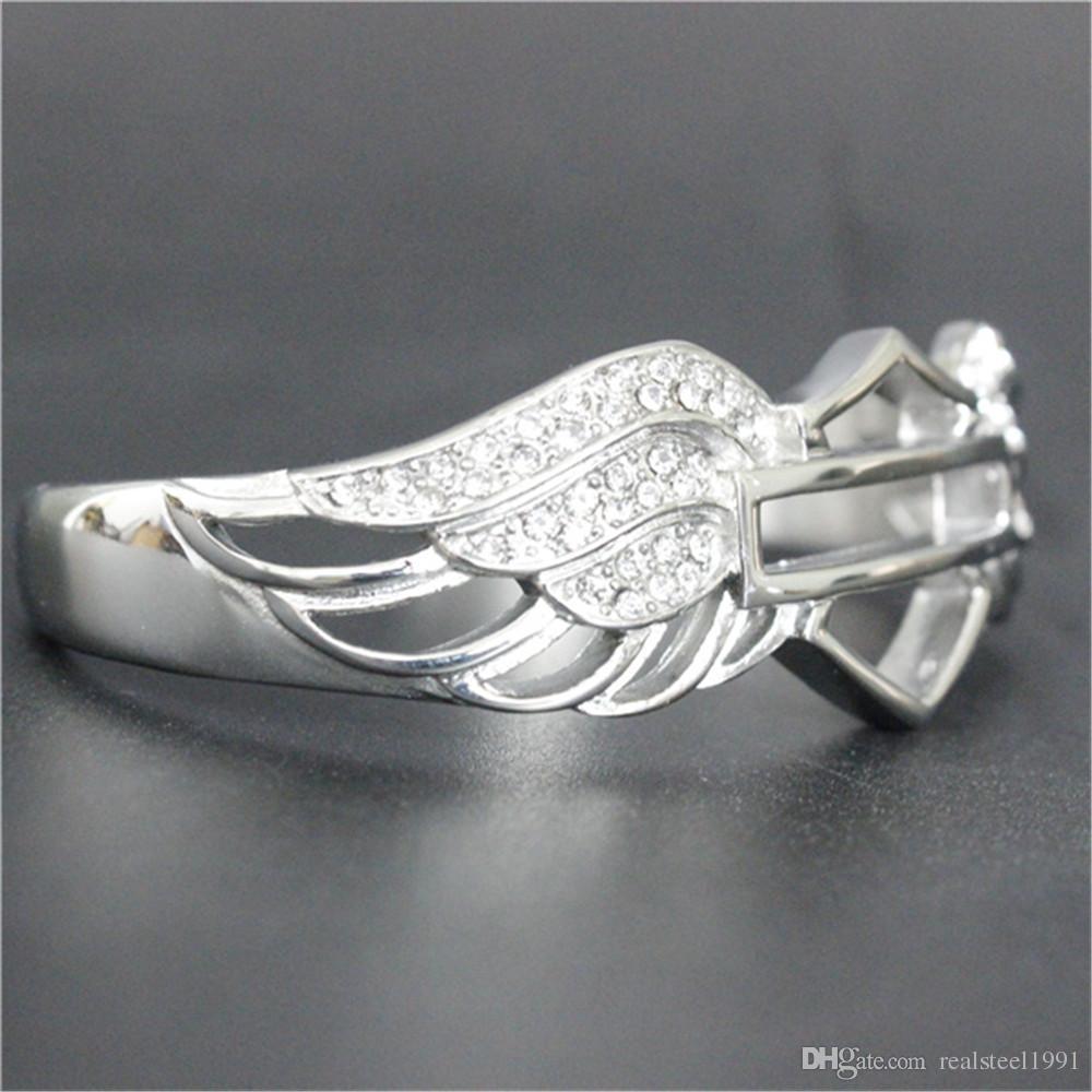 1 STÜCK unterstützung Dropship New Crystal Wings Motorräder Armband 316L Edelstahl Heißer Verkauf Biker Stil Winkel Wings Armband