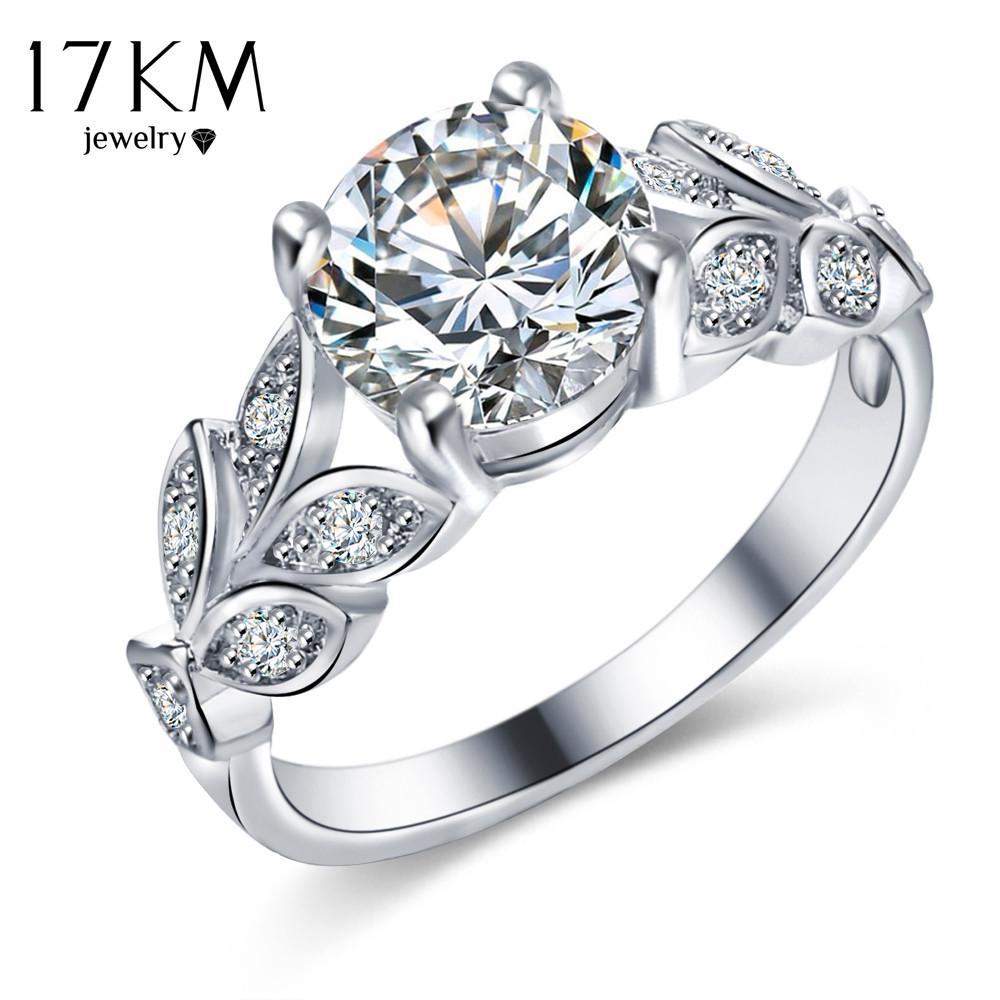 Acheter 17 Km Argent Couleur Cristal Fleur Anneaux De Mariage Pour
