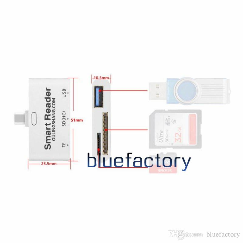 USB 3.1 Type C TO USB 3.0 Fast Speed Card Reader Support TF SD U-DISK PEN Drive For PC Laptop Tablet Macbook
