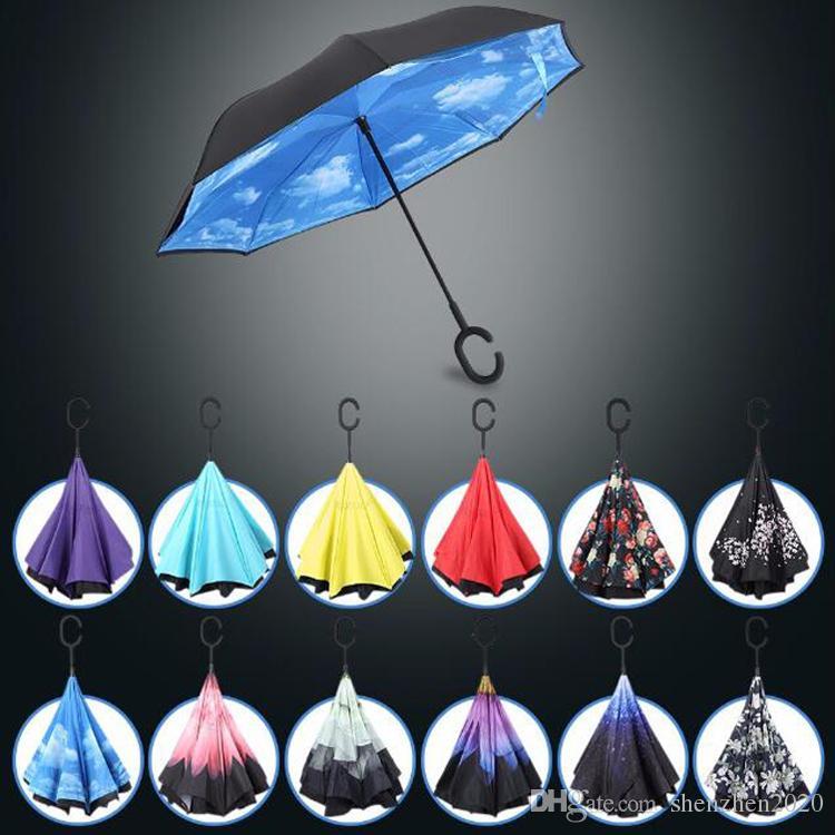 Yüksek Kaliteli Rüzgar Geçirmez Ters Katlanır Çift Katmanlı Ters CHUVA Şemsiye Kendi Kendini Standı İçten Yağmur Koruma C-HOCK Eller
