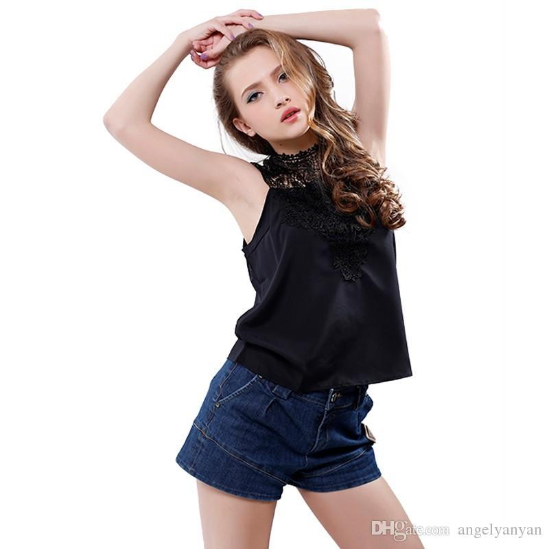 Frauen Sleeveless Bluse Schwarz Weiß S-XL Sexy Halter Spitze Chiffon Shirts beiläufige dünne hohe Kragen-Oberteile