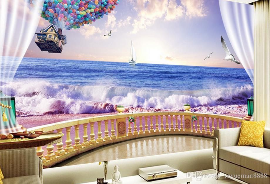 custom 3d wallpapers for wall nonwoven wallpaper Sunset beach TV wall 3d room wallpaper landscape luxury wallpaper