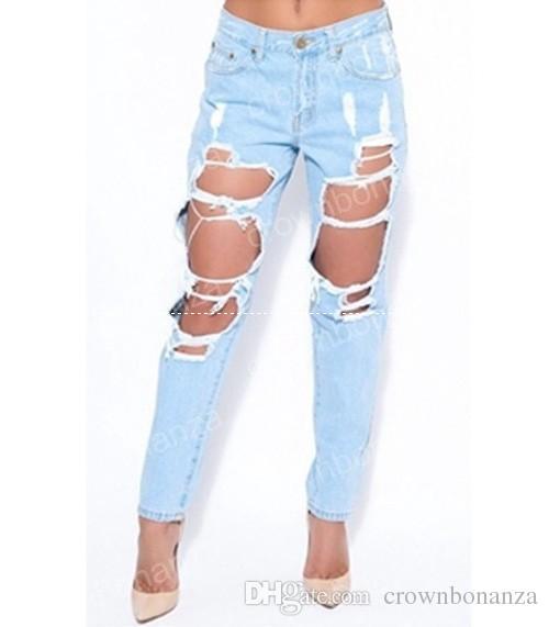 Mode neue Slim Loch Sexy Gerade Hight Waist Jeans Solide Dünne Zerrissene Damen Denim Jeans Weiblichkeit