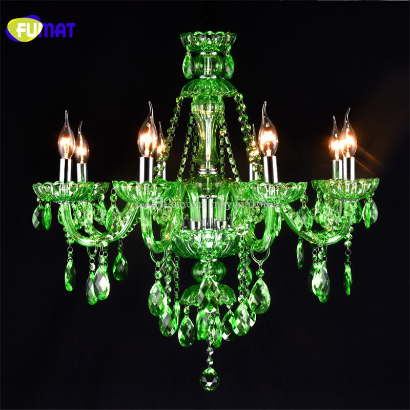 Fumat Crystal Candle Chandelier Led Green Crystal Suspension Lamp ...