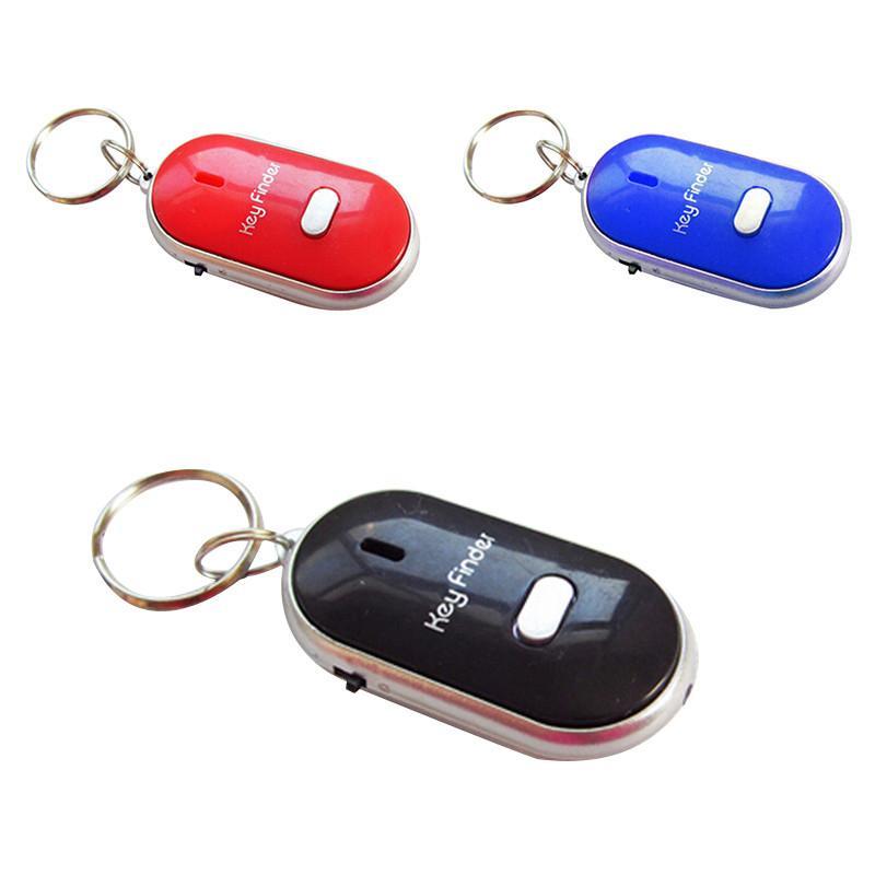 Бесплатная Доставка Горячей Продажи Белый LED Key Finder Локатор Найти Потерянные Ключи Цепи Брелок Свисток Звук Управления