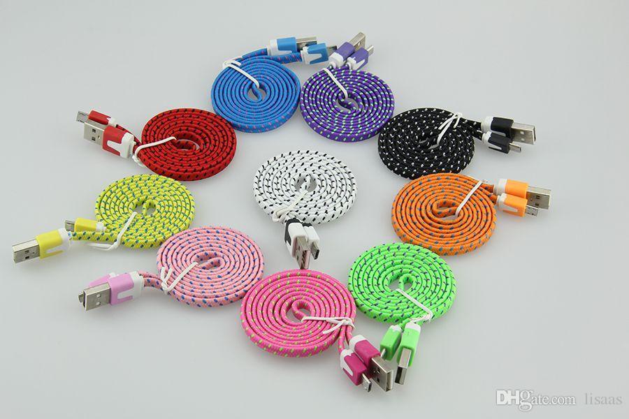 1M 2M 3M Tragbare Flache Nudel-Nylongewebe-V8 Mikro-USB-Daten-Synchronisierungs-Gebühren-Adapter-Kabel für Samsung für SONY Xperia für XIAOMI Huawei /