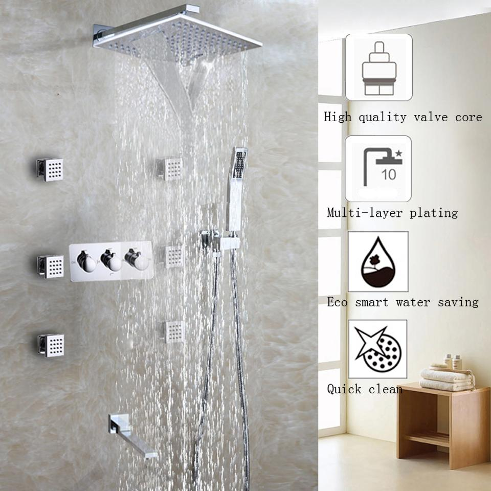 2018 Waterfall Bathroom Shower Faucet Set Chrome Shower Head ...
