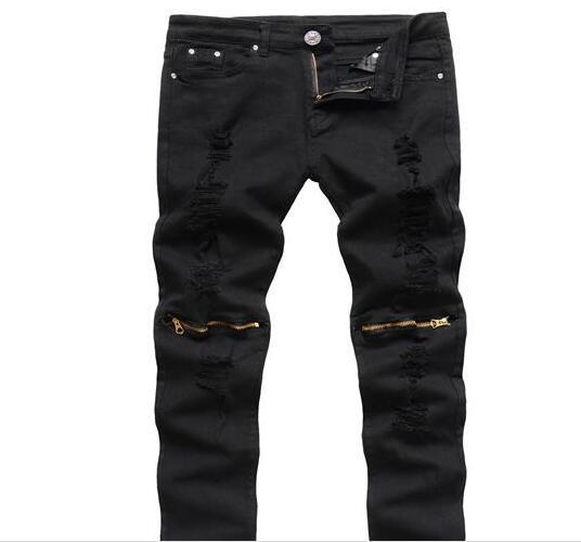 Großhandel Marke Zerrissene Jeans Männer Knie Loch Zipper Biker Jeans  Männer Slim Skinny Zerstört Zerrissene Jean Hosen Angst Vor Fod Jeans  J161202 Von ... d02f6d4b84
