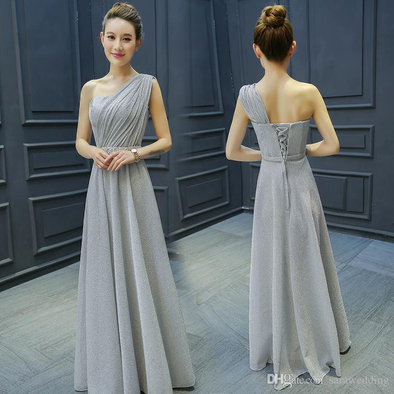 One Shoulder Long Bridesmaid Dress Modest 2018 Elegant Wedding Party Dress Lace Up Formal Dress Sliver Color