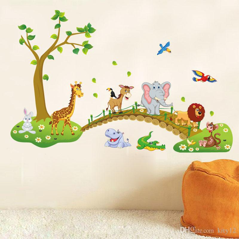 Cute Animals Wall Sticker Zoo Tiger Lion Tree Forest Vinyl Art - Zoo animal wall decals