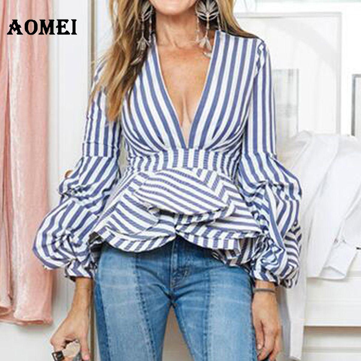 2017 Puff Sleeve Blue White Stripe Blouse Shirts Ruffles Trim ...
