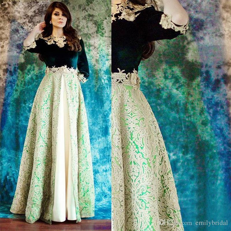 Saudi Arabic Green Velvet Evening Dress 2017 Dubai Abiye Half Sleeve ...