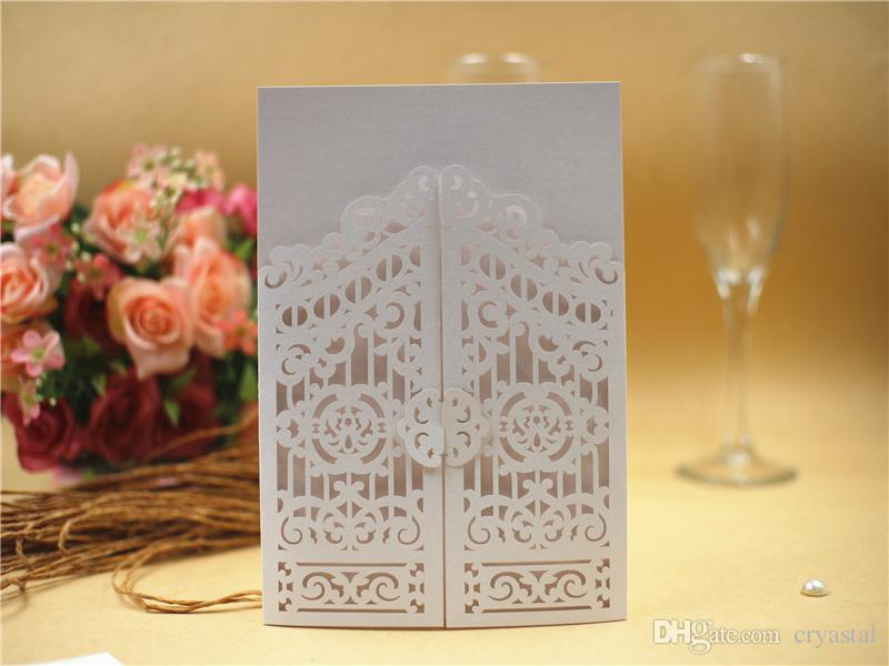 2018 Laser Cut Wedding Invitations Ivory Elegant Invitation With ...