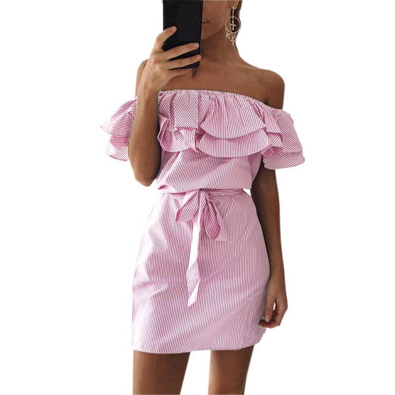 Compre 2017 Kawaii Vendaje Fiesta Vestidos De Playa Sexy Ruffles ...
