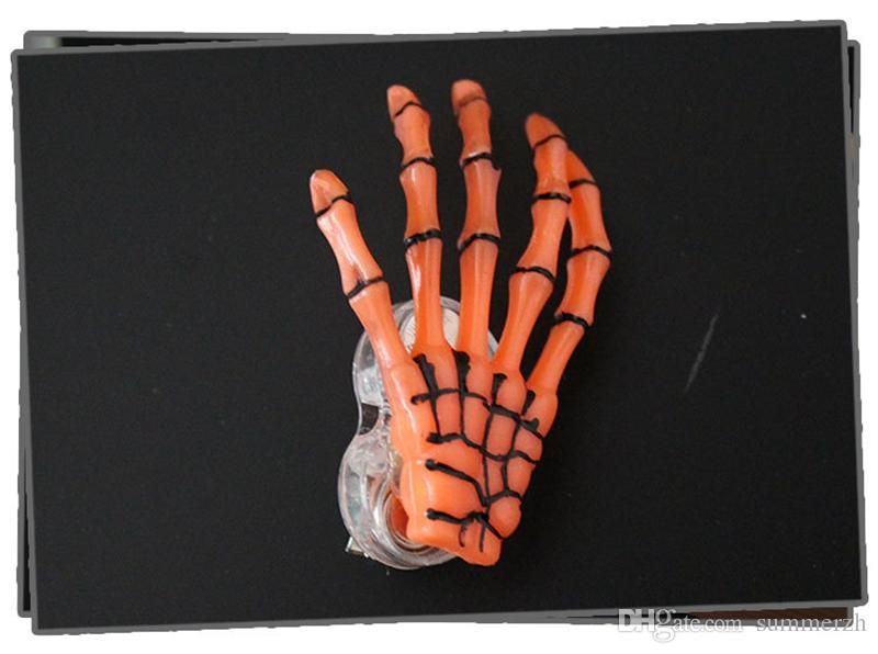 Yeni Varış İskelet Pençeleri Kafatası El Saç Klip Firkete Zombi Yaratıcı Cadılar Bayramı Dekorasyon Oyuncaklar Yanıp Sönen LED Saç Klip El Kemik Firkete